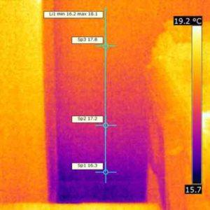 Termografia iniziale di zona con umidità di risalita