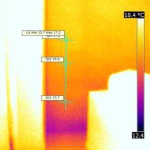 Termografia della stessa zona dopo asciugatura