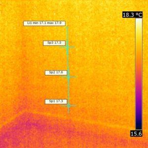 Termografia finale dello stesso punto ove si vede che l'umidità ascendente è scomparsa